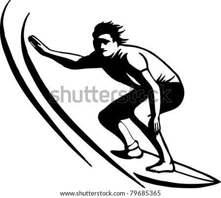 wave rider - stock vector