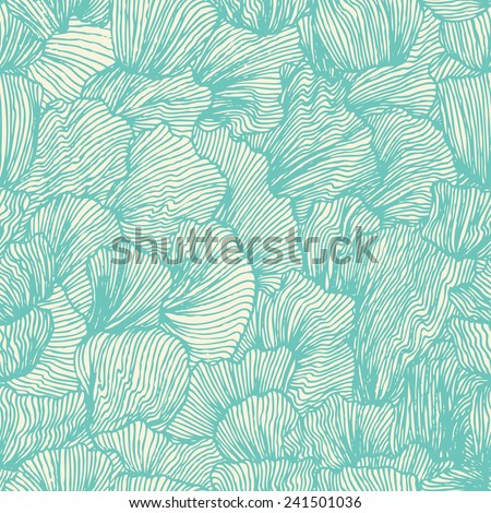 Wave seamless pattern in doodle style. Sea background. Ocean texture. Vector illustration in vintage design. - stock vector