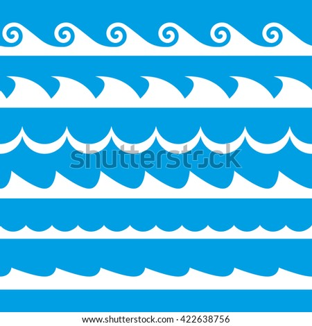 Wave set. Waves seamless pattern. Decoration template of sea and ocean waves. Vector illustration. - stock vector