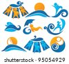 Wave, surf, sunbathing  aqua park and swimming symbols - stock vector