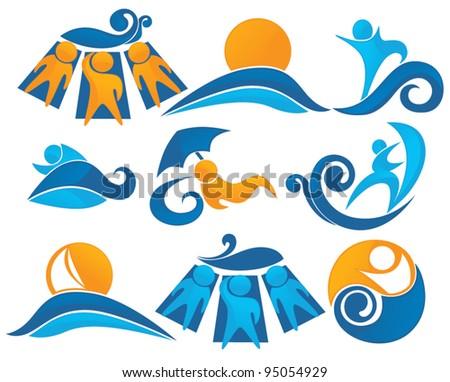 Wave, surf, sunbathing  aqua park and swimming symbols - stock vector