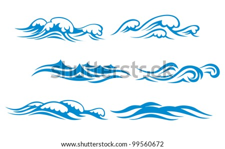 Wave symbols set for design isolated on white background, such  emblem or logo template. Jpeg version also available in gallery - stock vector