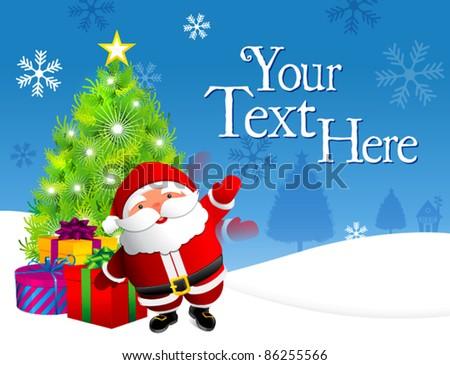 waved santa claus on snow - stock vector