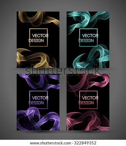 Waved smoke background. Vector illustration. Template banner design - stock vector