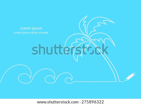 Waves and coconut tree on beach. Line drawings minimal design vector. - stock vector