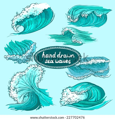 Waves flowing water hand drawn sea ocean colored decorative icons set isolated vector illustration - stock vector