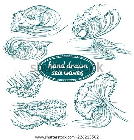 Waves flowing water hand drawn sea ocean icons set isolated vector illustration - stock vector