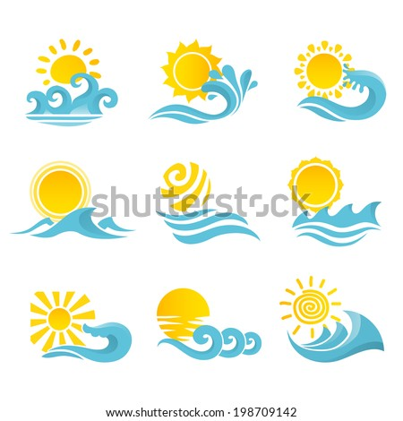 Waves flowing water sea ocean icons set with sun isolated vector illustration - stock vector