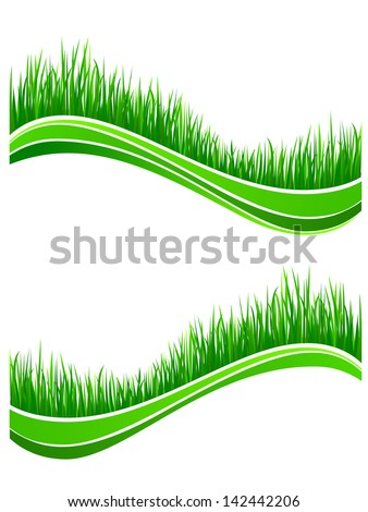 Waves of fresh spring green grass for design. Jpeg version also available in gallery  - stock vector