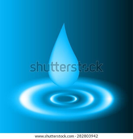 Waves on dark blue water from falling drop. - stock vector