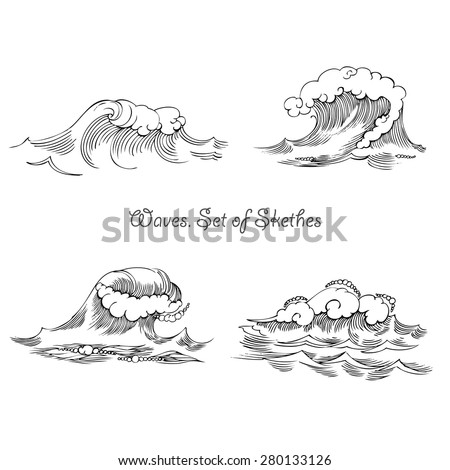 Waves. Set of sketches black and white. Vector Illustration - stock vector