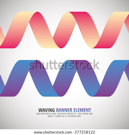 Waving Banners - Ribbons - Vector Matterial Design Color Element - stock vector