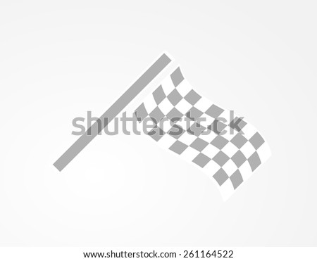 waving checkered racing flag on gray gradient background - stock vector