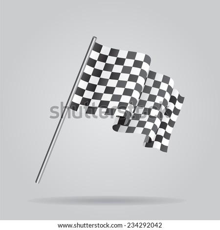 Waving Checkered racing flag. Vector - stock vector