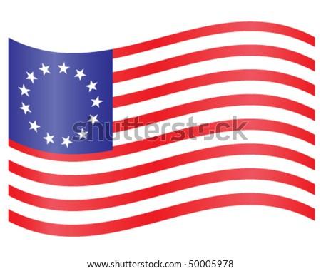 Waving Colonial U.S. Flag - stock vector