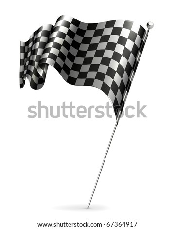 Waving flag checkered, 10eps - stock vector