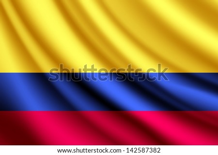 Waving flag of Columbia, vector - stock vector