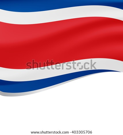 Waving flag of Costa Rica isolated on white background - stock vector