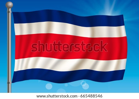 Waving flag of Costa Rica on a sky background. Vector illustration