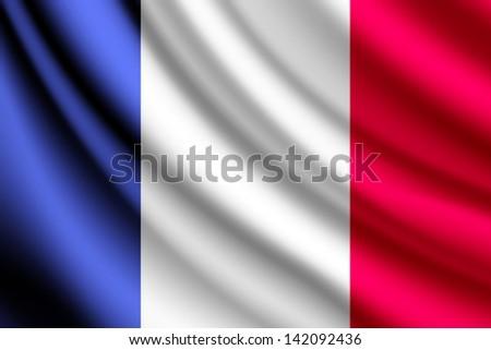 Waving flag of France, vector - stock vector