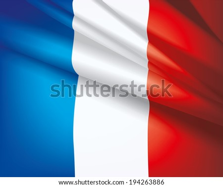 Waving flag of France, vector beautiful background - stock vector
