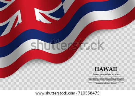 Waving Flag Of Hawaii Is A State USA On Transparent Background Template For Banner
