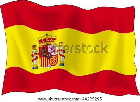 Waving flag of Spain isolated on white