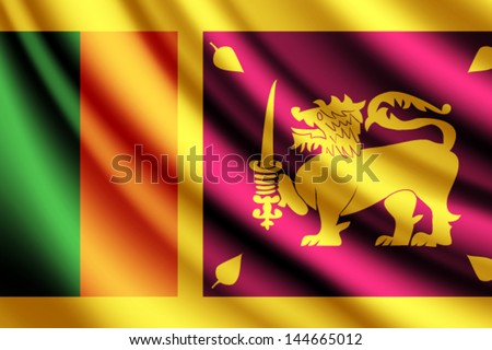 Waving flag of Sri Lanka, vector - stock vector