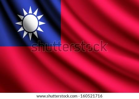 Waving flag of Taiwan - stock vector