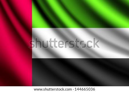 Waving flag of United Arab Emirates, vector - stock vector