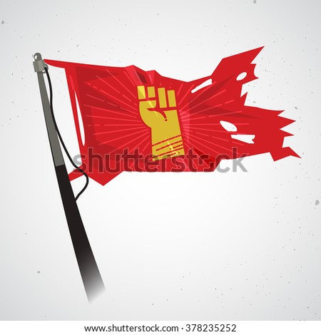 waving flag with fist hand of revolution. power and propaganda concept - vector illustration - stock vector