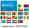 "Waving Flags of African Countries - Part 1. Design ""Waves"". One of the Flags of the World series. - stock vector"