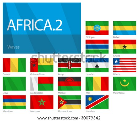 """Waving Flags of African Countries - Part 2. Design """"Waves"""". One of the Flags of the World series. - stock vector"""