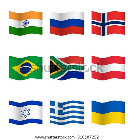 Waving flags of different countries. Flag icons on white background. Vector content. 3D waving position with shadow. Each flag is isolated on its own layer with the proper name. Set 2. - stock vector