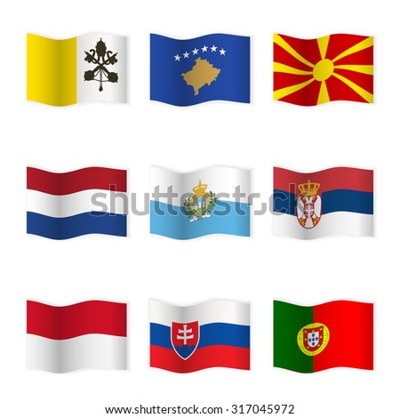 Waving flags of different countries. Flag icons on white background. Vector content. 3D waving position with shadow. Each flag is isolated on its own layer with the proper name. Set 7. - stock vector