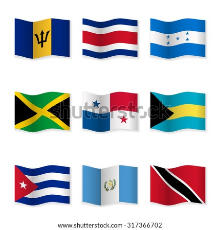 Waving flags of different countries. Flag icons on white background. Vector content. 3D waving position with shadow. Each flag is isolated on its own layer with the proper name. Set 9. - stock vector