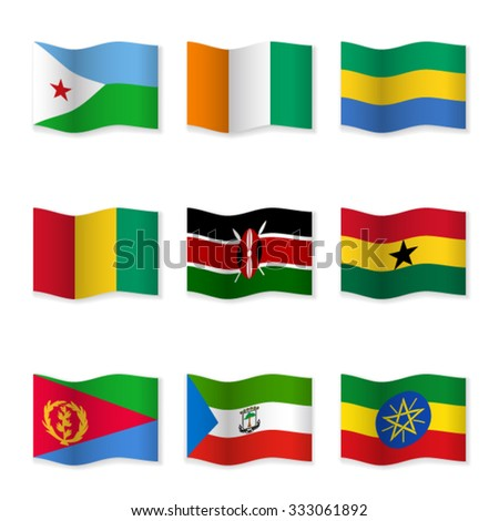 Waving flags of different countries. Flag icons on white background. Vector content. 3D waving position with shadow. Each flag is isolated on its own layer with the proper name. Set 15.