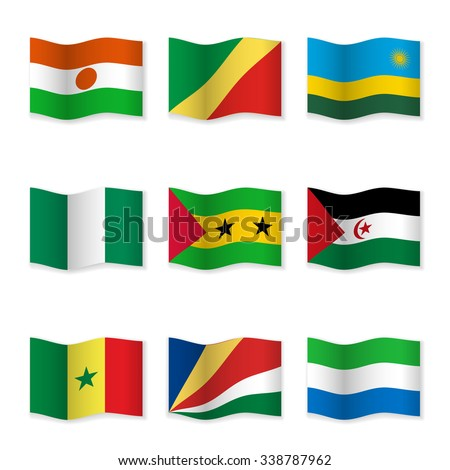 Waving flags of different countries. Flag icons on white background. Vector content. 3D waving position with shadow. Each flag is isolated on its own layer with the proper name. Set 17.