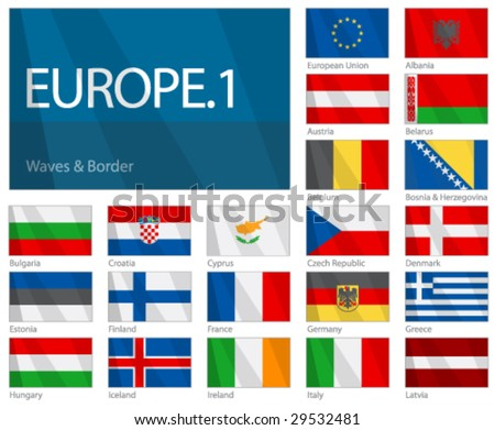 "Waving Flags of European Countries - Part 1. Design ""Waves & Borders"". One of the World Flags series. - stock vector"