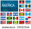 "Waving Flags of North & Central American Countries. Design ""Waves & Borders"". Waves can be easily removed from vector file if needed. - stock photo"