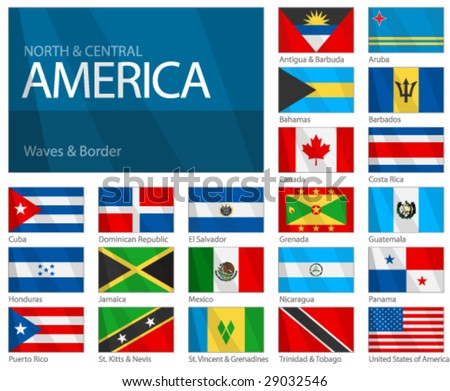 "Waving Flags of North & Central American Countries. Design ""Waves & Borders"". Waves can be easily removed from vector file if needed. - stock vector"