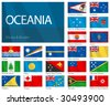 "Waving Flags of  Oceanian countries. Design ""Waves & Borders"". One of the Flags of the World series. - stock photo"