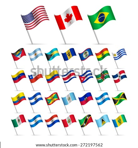 Waving Flags of the world, part 1/6 American continents  - stock vector