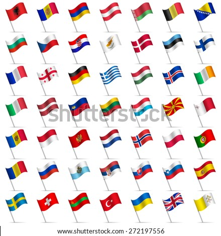 Waving Flags of the world, part 2/6 Europe - stock vector