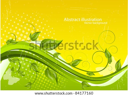 Wavy background with leaves