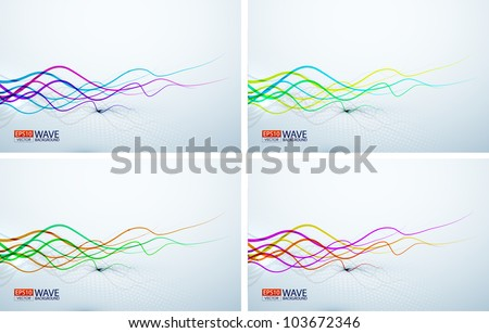 Wavy colorful lines abstract backgrounds - stock vector