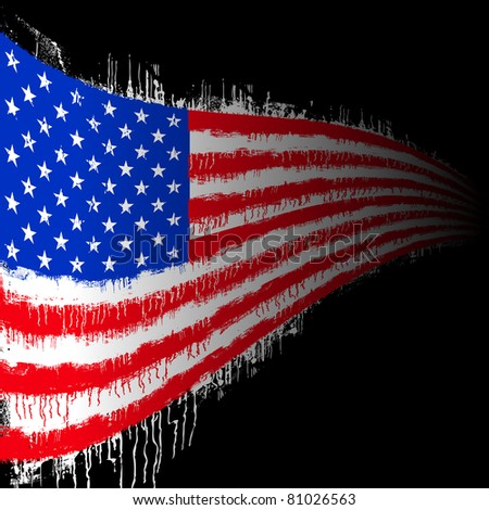 wavy flag of the united states of america on black - stock vector