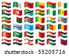Wavy flags set - Africa & Middle East. 36 Vector flags. - stock photo