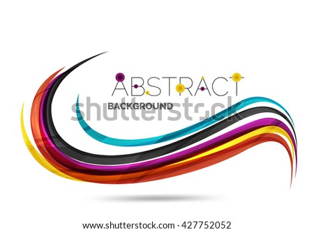 Wavy glossy futuristic swirl - color curve stripes and lines in motion concept and with light and shadow effects. Presentation banner and business card message design template - stock vector