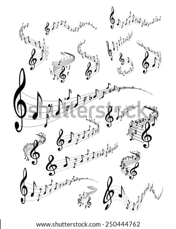 Wavy music staves. Vector set on white background - stock vector